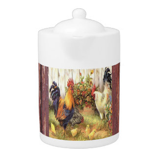 Country Kitchen Barnyard Roosters Teapot