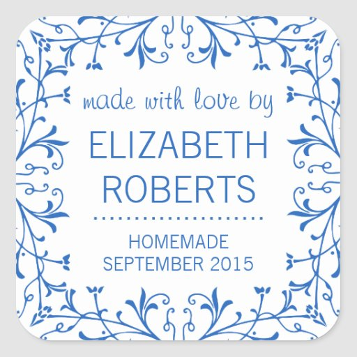Country Kitchen Blue and White Canning Labels Square Stickers