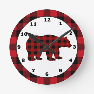 Country kitchen buffalo plaid bear clock