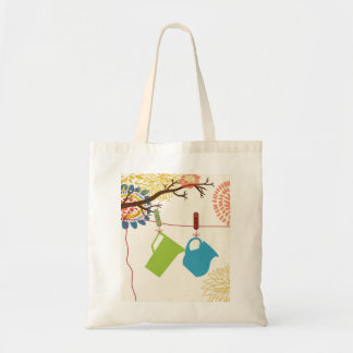 Country Kitchen- Pails and Pitcher on floral. Budget Tote Bag