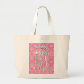 country kitchen - silverware on floral damask. tote bag