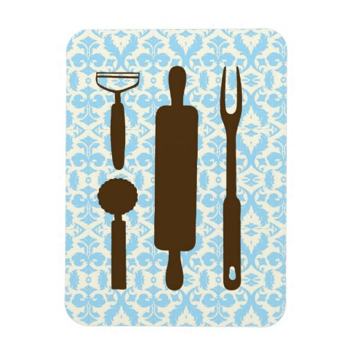 country kitchen - Silverware on floral damask. Rectangular Magnets