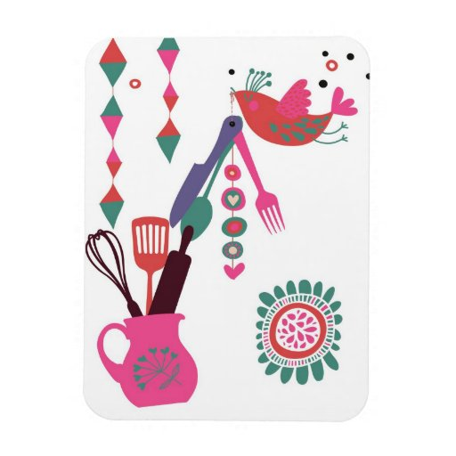 country kitchen - silverware on floral. vinyl magnets