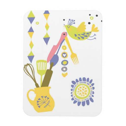 country kitchen - silverware on floral. rectangular magnets
