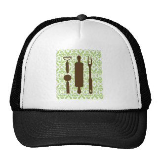Country Kitchen - Utensils on damask Hat