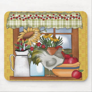 Country Kitchen Window, Rooster Mouse Mat