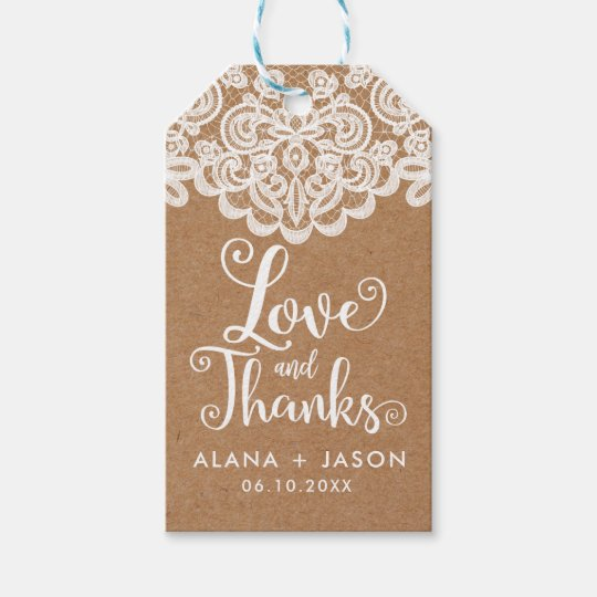 Country Kraft and Lace Wedding Favour Tag