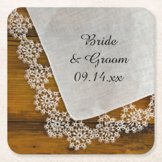 Country Lace and Barn Wood Rustic Wedding Square Paper Coaster