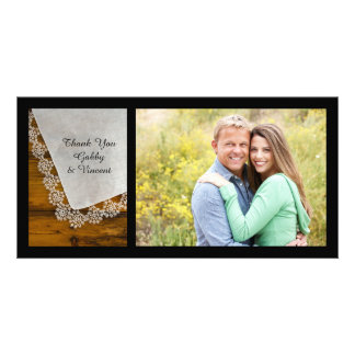 Country Lace and Barn Wood Thank You Customised Photo Card