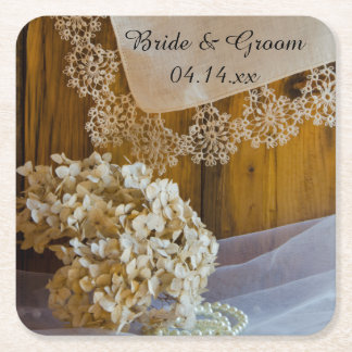 Country Lace and Flowers Barn Wedding Square Paper Coaster