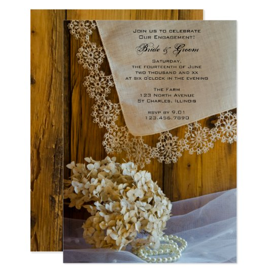 Country Lace and Flowers Engagement Barn Party Card