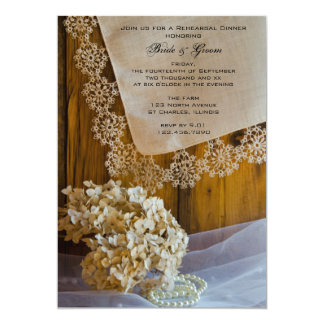 Country Lace and Flowers Wedding Rehearsal Dinner 13 Cm X 18 Cm Invitation Card