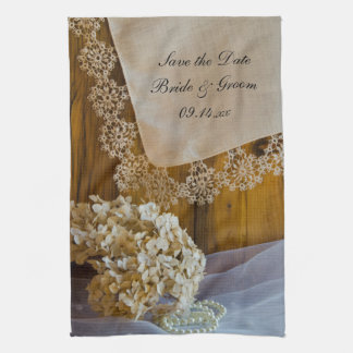 Country Lace and Flowers Wedding Save the Date Tea Towel
