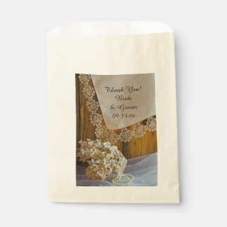 Country Lace and Flowers Wedding Thank You Favour Bags