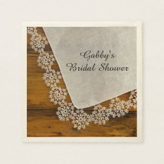 Country Lace Bridal Shower Paper Napkins