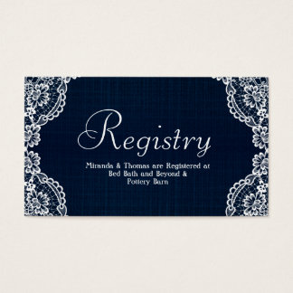 Country Lace & Denim Wedding Registry Card