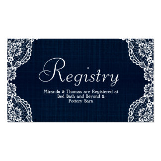 Country Lace & Denim Wedding Registry Card Pack Of Standard Business Cards