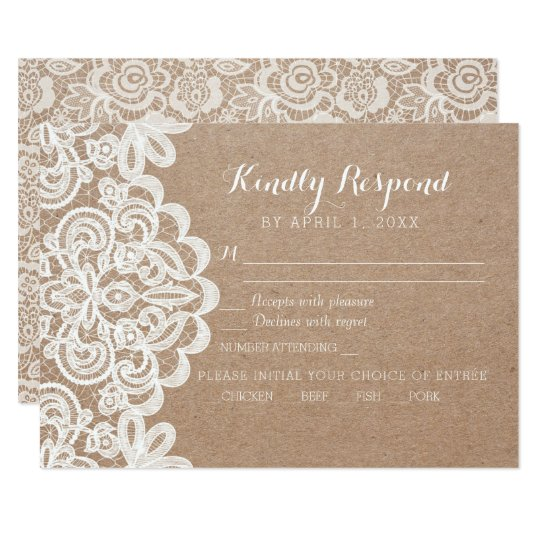 Country Lace Kraft Wedding RSVP Response Card