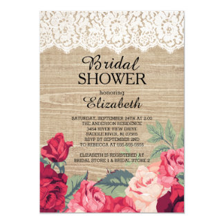 Country Lace Roses Wood Bridal Shower Invitation