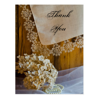 Country Lace Wedding Thank You Postcard