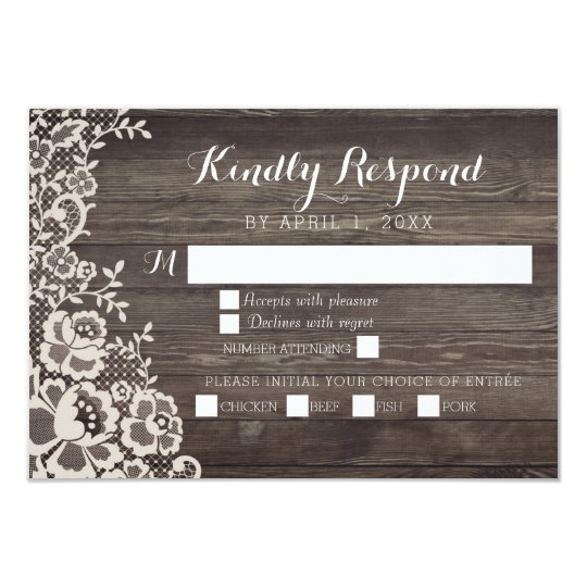Country Lace Wood Wedding RSVP Response Card