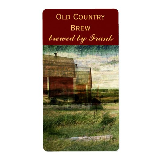 Country landscape with red barns beer bottle label