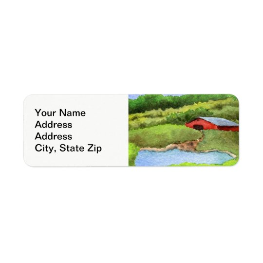 Country landscapes field farm barn silo. return address label