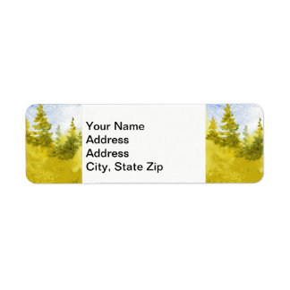 Country landscapes scenic views  spring pine tree. return address label