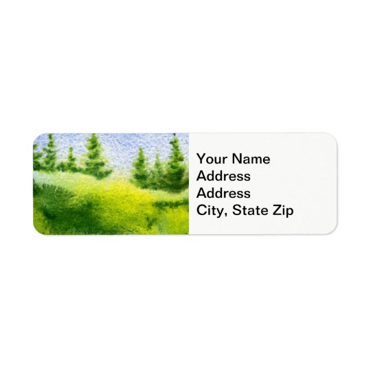 Country landscapes spring pines hills clear sky. return address label