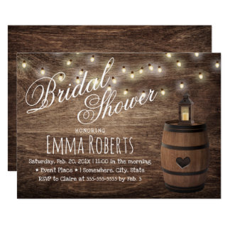 Country Lantern & Wine Barrel Bridal Shower Card