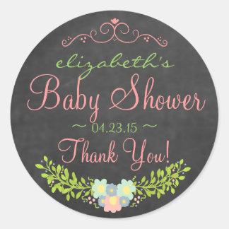 Country Laurel-Baby Shower Round Sticker