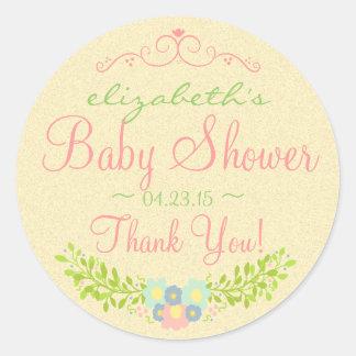 Country Laurel-Baby Shower Classic Round Sticker