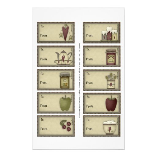 Country Life Gift Tags on a Sheet - 10 Designs Full Color Flyer