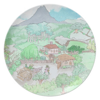 Country life, illustration on a plate. dinner plate