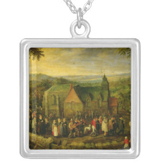 Country Life with a Wedding Scene Silver Plated Necklace