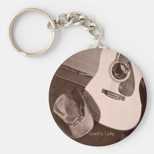Country Living Basic Round Button Key Ring