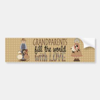 Country Love GranMa & GranPa Bumper Sticker Car Bumper Sticker
