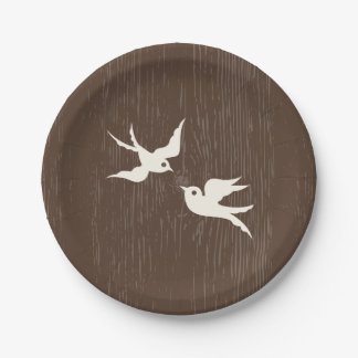 Country Lovebirds Doves Brown Wood Wedding Paper Plate