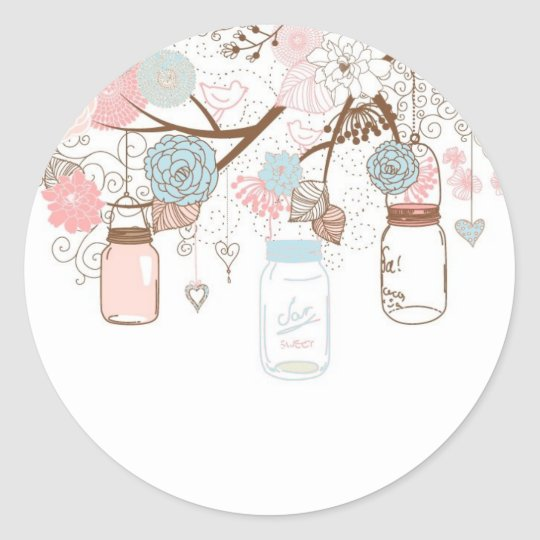 Country Mason Jar Baby Stickers Blue and Pink