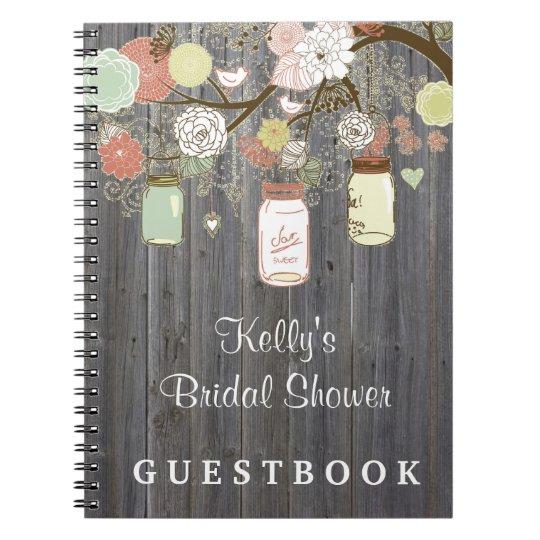 Country Mason Jar Bridal Shower Custom Guest Book