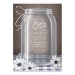 Country Mason Jar Purple Gingham Baby Shower 13 Cm X 18 Cm Invitation Card
