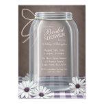 Country Mason Jar Purple Gingham Bridal Shower 13 Cm X 18 Cm Invitation Card