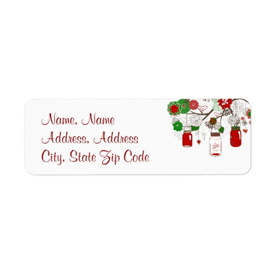 Country Mason Jar Red and Green Christmas Label Return Address Label