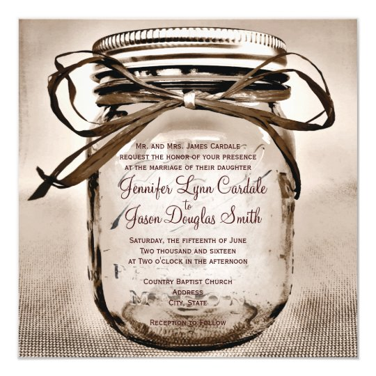 Country Mason Jar Rustic Square Wedding Invitation