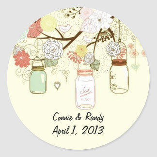 Country Mason Jar Wedding Stickers