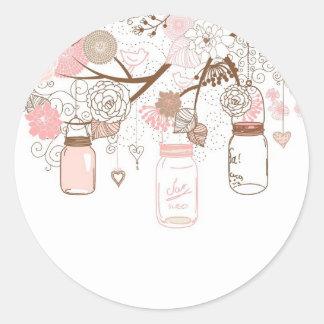 Country Mason Jars Pink Flowers Classic Round Sticker