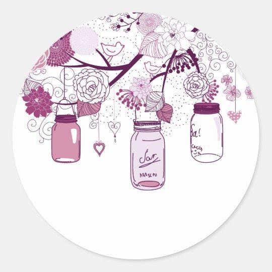 Country Mason Jars Purple Flowers Classic Round Sticker