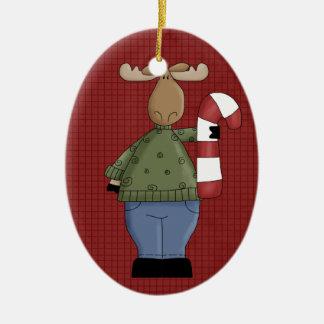 Country Moose Ceramic Christmas Ornament
