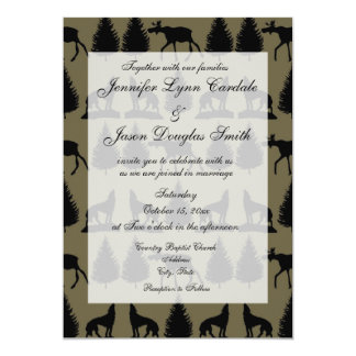 Country Moose Wolves Wildlife Wedding Invitations