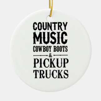 Country Music, Cowboy Boots & Pickup Trucks Christmas Ornament